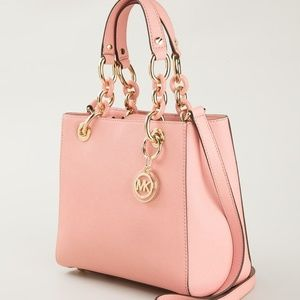 Michael Kors Cynthia Leather Satchel Pastel Pink